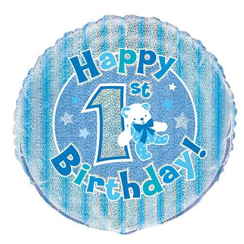 Feliz Primer Cumpleaños Azul Globo de la Hoja Holográfica Ronda 45cm