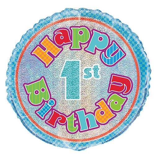 Feliz Primer Cumpleaños Globo de la Hoja Holográfica Ronda 45cm