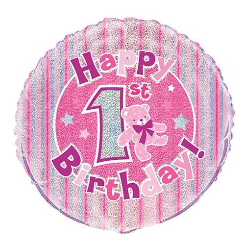 Feliz Primer Cumpleaños Rosa Globo de la Hoja Holográfica Ronda 45cm