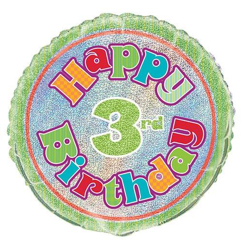 Feliz 3er Cumpleaños Globo de la Hoja Holográfica Ronda 45cm