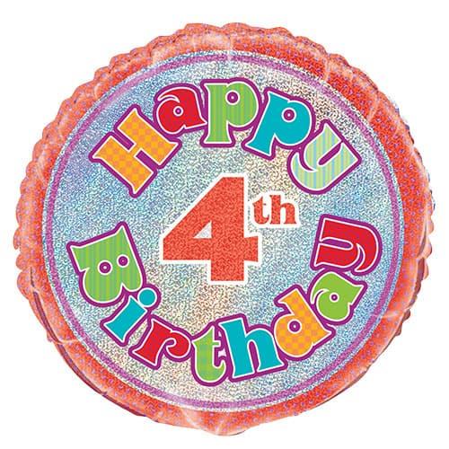 Feliz 4º Cumpleaños Globo de la Hoja Holográfica Ronda 45cm