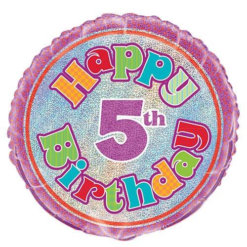 Feliz Quinto Cumpleaños Globo de la Hoja Holográfica Ronda 45cm
