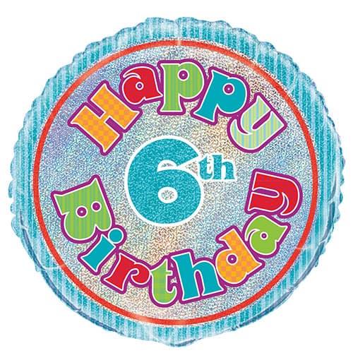 Feliz Sexto Cumpleaños Globo de la Hoja Holográfica Ronda 45cm