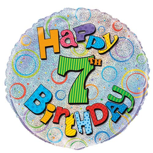 Feliz 7º Cumpleaños Globo de la Hoja Holográfica Ronda 45cm