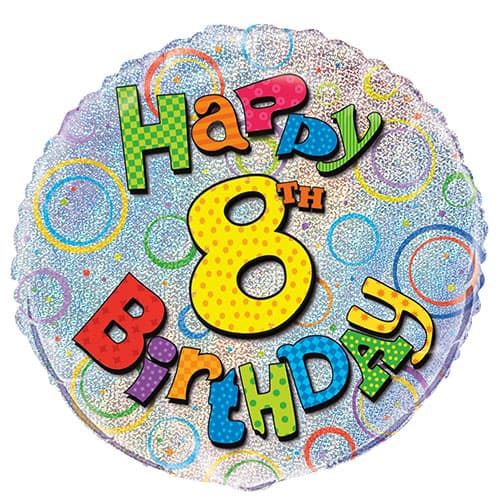 Feliz Octavo Cumpleaños Globo de la Hoja Holográfica Ronda 45cm