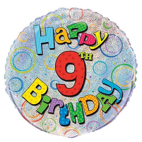 Feliz 9no Cumpleaños Globo de la Hoja Holográfica Ronda 45cm