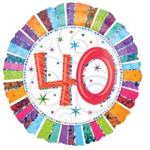Globo de la Hoja Redonda Holográfica de Radiante 40 Cumpleaños 45cm