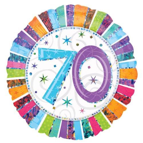 Globo de la Hoja Redonda Holográfica de Radiante 70 Cumpleaños 45cm