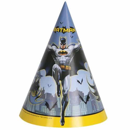 Sombreros de Fiesta de Cono Batman - Paquete de 8