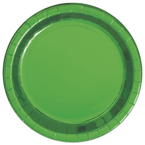 Platos Redondos De Papel De Aluminio Verde 22Cm - Paquete De 8