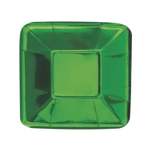 Placa de Aperitivo Cuadrada Verde Foil 13cm - Paquete de 8