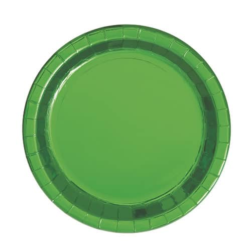 Platos Redondos De Papel De Aluminio Verde 17Cm - Paquete De 8