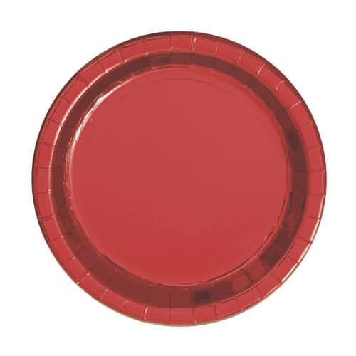 Plato de Papel Rojo Redondo de Foil 17cm
