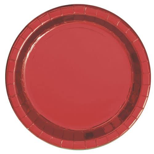 Plato de Papel Rojo Redondo de Foil 22cm