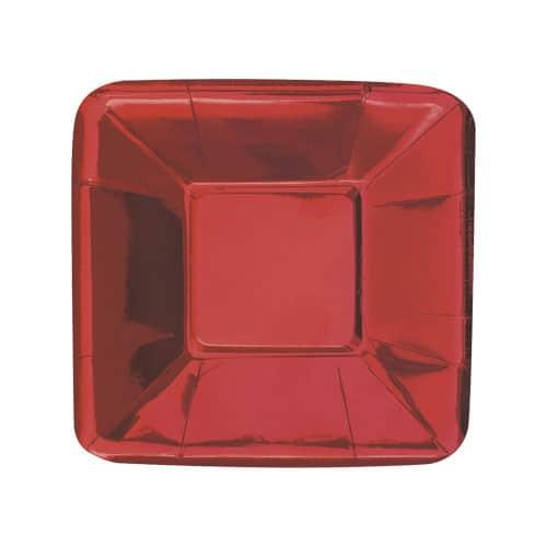 Plato de Aperitivo Cuadrado de Hoja Roja 13cm - Paquete de 8