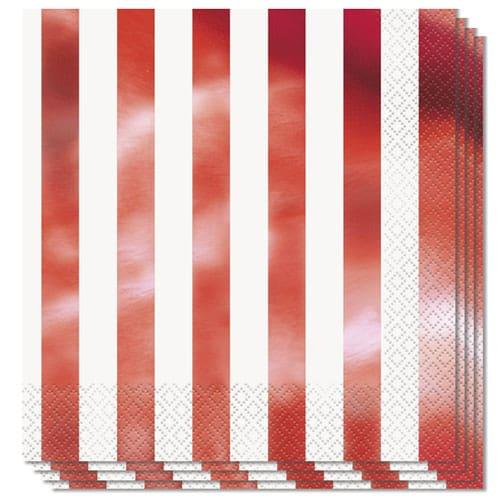 Servilletas de Almuerzo de Rayas de Papel de Aluminio Rojo 2Ply 33cm - Paquete de 16