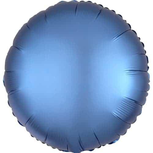 Globo De Helio De Lámina Redonda Azul De Lujo De Satén Azul 43 Cm
