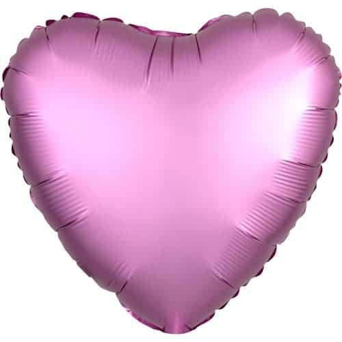 Flamingo Rosa Satinado Corazón De Lujo Globo Helio 43 Cm