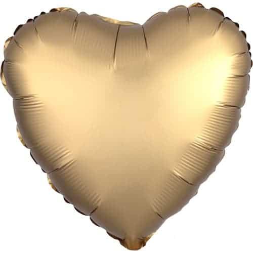 Globo De Helio De Oro Satinado Corazón De Lujo 43 Cm