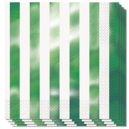 Servilletas De Papel Verde Rayas Servilletas 2Ply 33 Cm - Paquete De 16