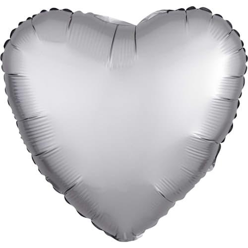 Platino Plateado Satinado Corazón De Lujo Globo Helio 43 Cm