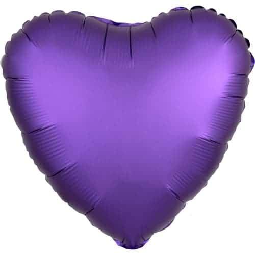 Globo De Helio De Aluminio Corazón Púrpura De Lujo Satinado 43 Cm