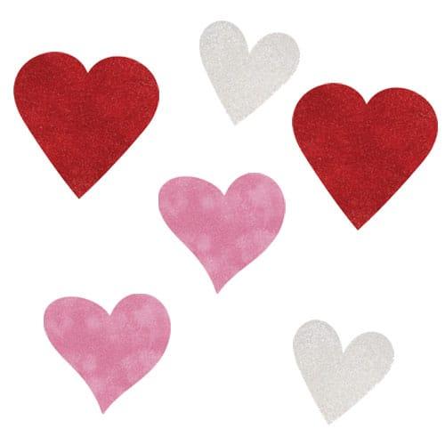 Corazones de San Valentín una Variedad de Mini Recortes Brillo - Pack de 6