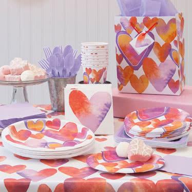 Corazones de San Valentín Acuarela Fiesta Suministros