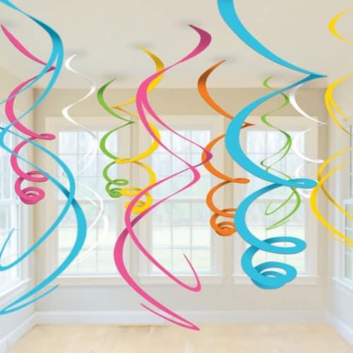 Decoraciones De Remolinos Colgantes Multicolores - Paquete De 12