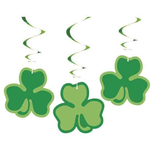 Trébol Del St Patricks Day Colgando Decoraciones De Remolino - Paquete De 3
