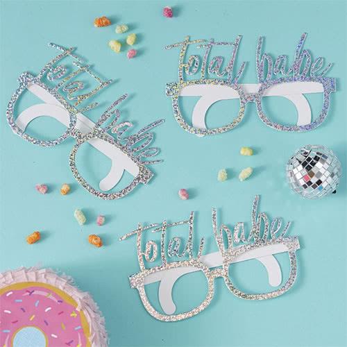 Gafas De Fiesta De Cartón Holográfico 'Total Babe' Buen Rollo - Paquete De 8