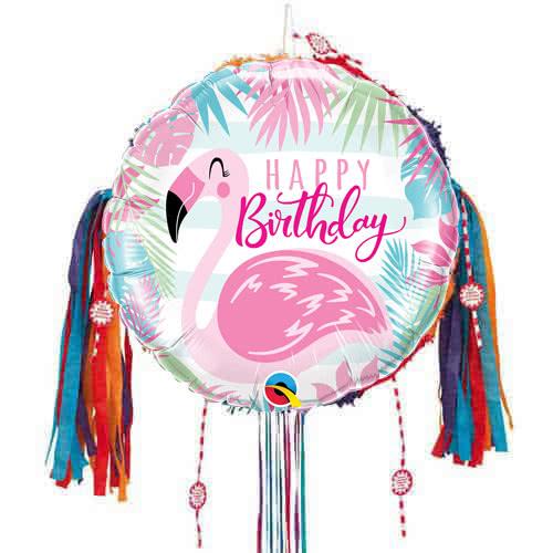 Feliz Cumpleaños Pink Flamingo Tire Cadena Piñata