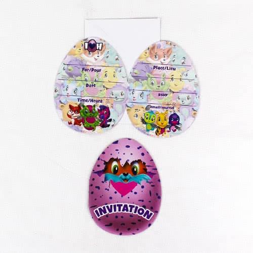 Invitaciones De Fiesta De Hatchimals Con Sobres - Paquete De 8