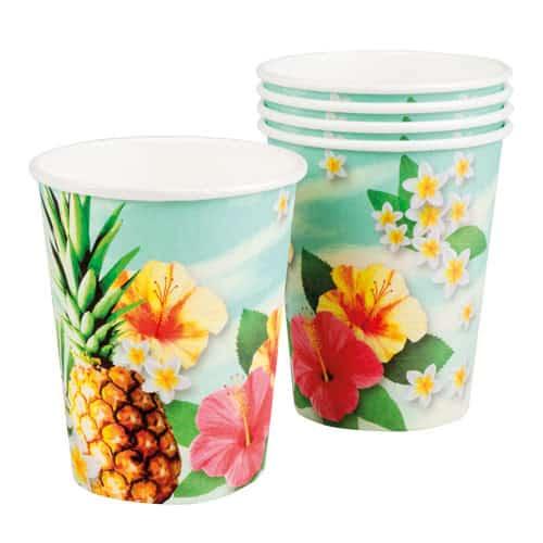 Tazas De Papel Hawaii Paradise 250Ml - Paquete De 6