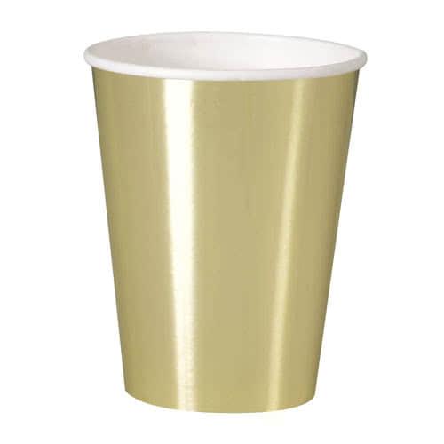 Vasos De Papel De Aluminio Dorado 355Ml - Paquete De 8