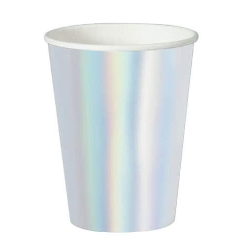 Vasos De Papel De Aluminio Iridiscente 355Ml - Paquete De 8