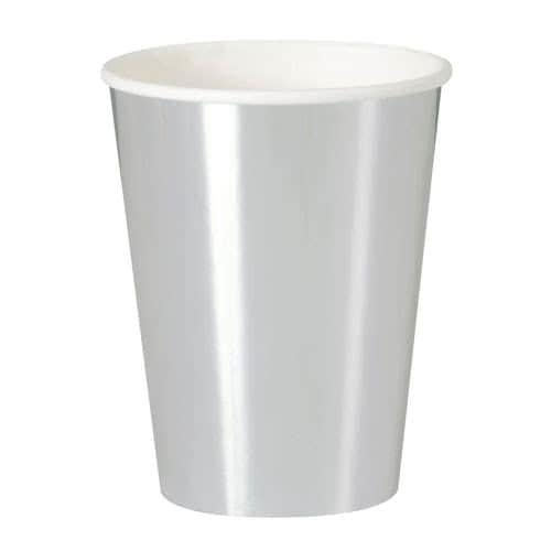 Vasos De Papel Plateado 355Ml - Paquete De 8
