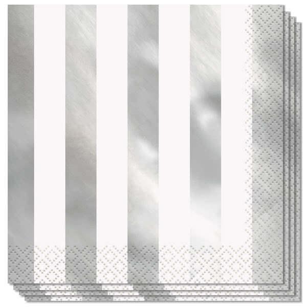 Servilletas De Papel De Aluminio Con Rayas Plateadas 2Ply 33Cm - Paquete De 16