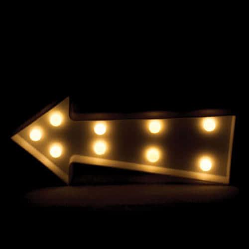 Flecha Blanca Decoración De Luz Led 23Cm