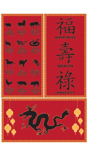 Decoraciones De Letreros Chinos Fiesta De Pvc 51Cm X 26Cm - Paquete De 3
