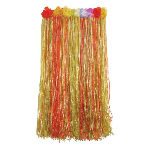Falda Larga De Hula Hawaiana Multicolor Con Flores 80Cm