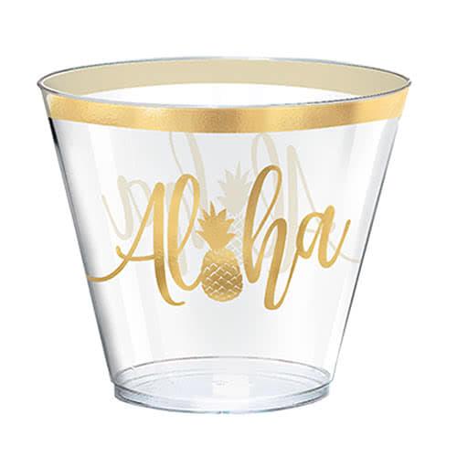 Vaso De Plástico Estampado En Caliente Aloha Summer 266Ml - Paquete De 30