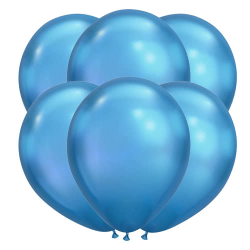 Globos De Helio De Látex Azul Cromo 28Cm / 11 Pulgadas - Paquete De 100