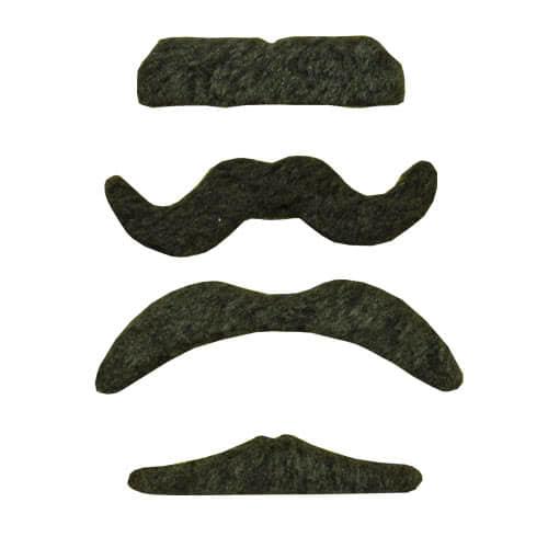 Diseños Surtidos De Bigote Negro De Tela - Paquete De 4