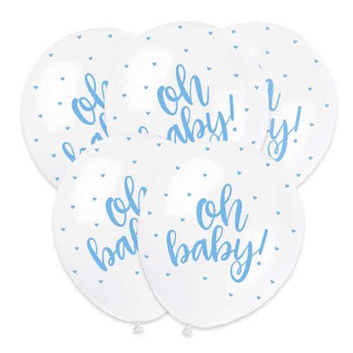 Ducha Del Bebé Oh Bebé Azul Perlado De Estampado Globos De Helio De Latex Biodegradables - 30 Cm / 12 Pulgadas - Paquete De 5