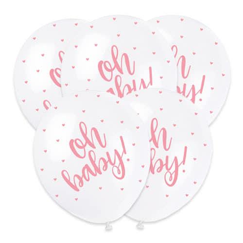 Ducha Del Bebé Oh Bebé Rosa Perlado De Estampado Globos De Helio De Latex Biodegradables - 30 Cm / 12 Pulgadas - Paquete De 5