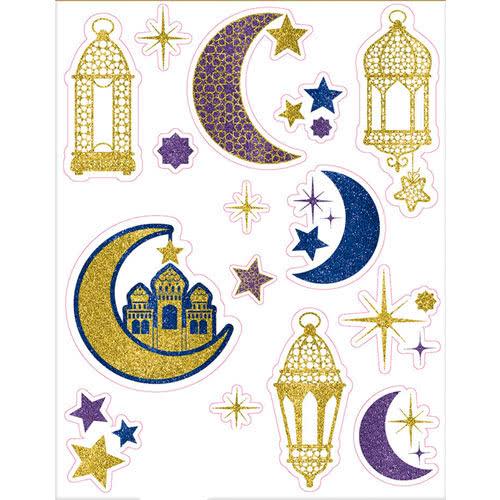 Eid Glitter Window Se Adhiere Decoraciones 43Cm