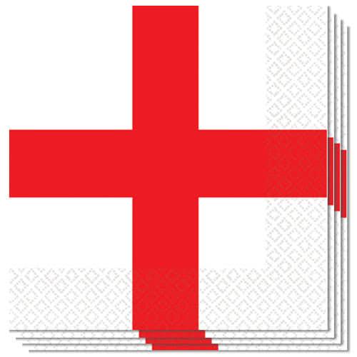 Inglaterra St Georges Servilletas De Almuerzo 33Cm 3Ply - Paquete De 16