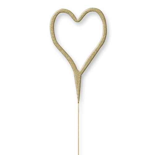 Glitz Oro Corazón Forma No Mano Sparkler 17Cm