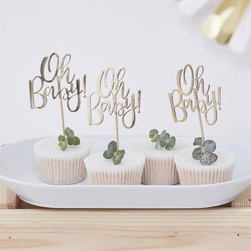 Topitos De Cupcake Dorados Baby Baby - Paquete De 12